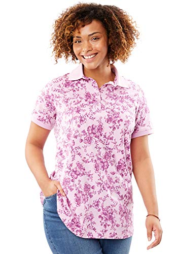 Woman Within Plus Size Printed Polo Perfect Tee - Orchid Pink Cherry Blossom, M