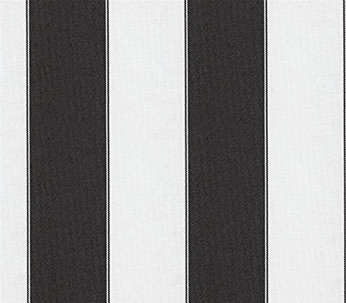 Indoor/Outdoor Waterproof Fabric Bordered Deck Stripe BLACK WHITE / 60