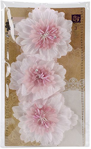 "Lyric Fabric Flowers 3"" 3/Pkg-Pink"