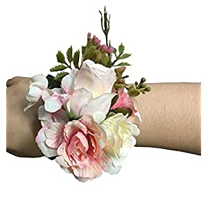 Jackcsale Wedding Wrist Corsage for Bridesmaid Bride Wrist Flower for Girl for Wedding Prom Pack of 2 41