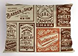 Lunarable Old Newspaper Pillow Sham, Various Advertisement Signs Barber Shop Restaurant Camping Jewelry, Decorative Standard Queen Size Printed Pillowcase, 30 X 20 Inches, Brown Orange Tan