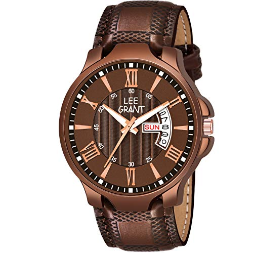 Lee Grant Date  amp; Day Brown Analog Watch for Men 507sl01