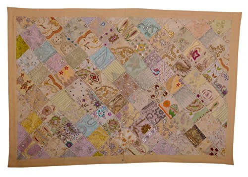 (KDHS Vintage Sari Patchwork Indian Wall Hanging Decorative Beaded Tapestry Throw Size 40 x 60 inches)