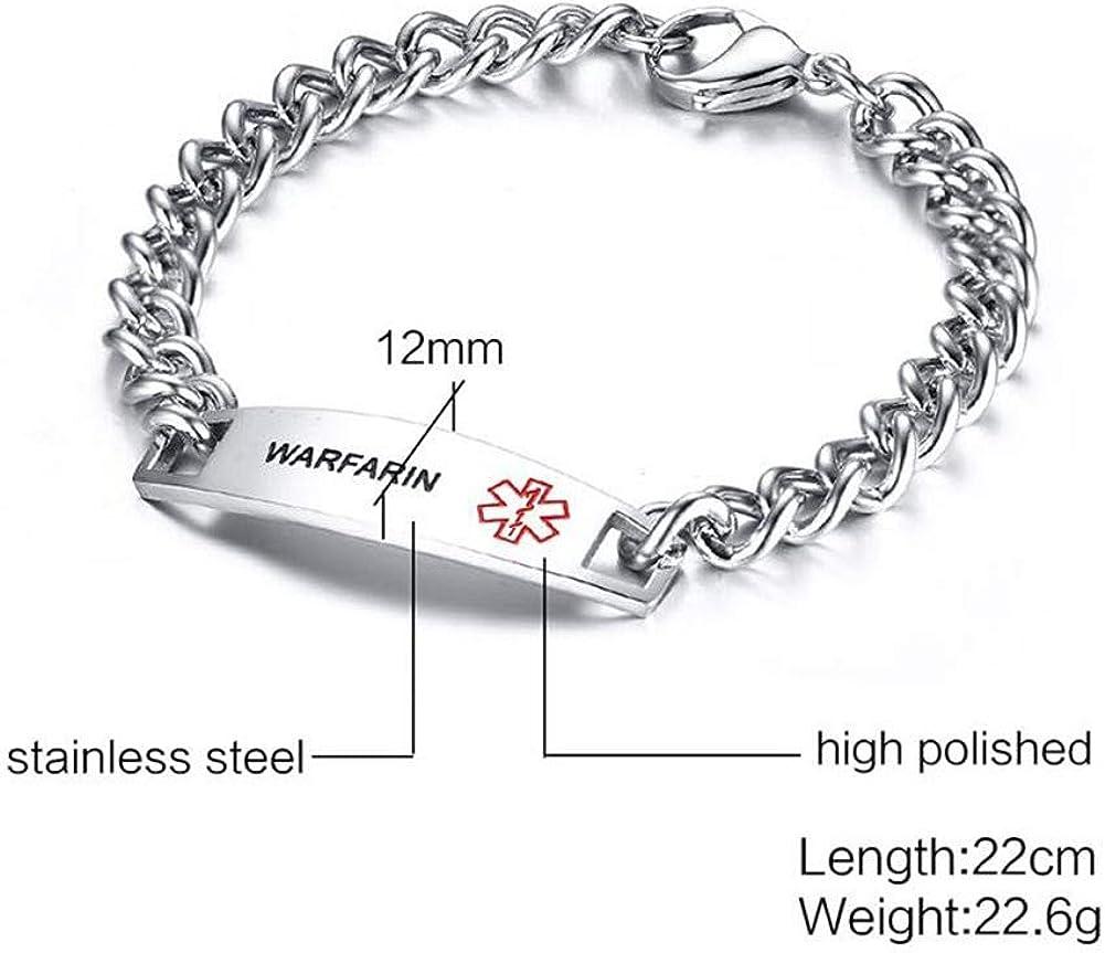 TTVOVO Medical Alert ID Bracelets for Men Women Stainless Steel SOS Emergency Medical Bracelets Link Chain Bracelet Identification Doctors Engravable Fashion Jewelry Gifts for Boys Girls 8.7Inches