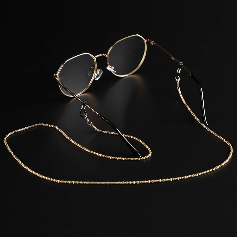 Gold Soleebee 80cm Stainless Steel Eyeglasses Chain Sunglass Chain Adjustable Neck Strap Holder