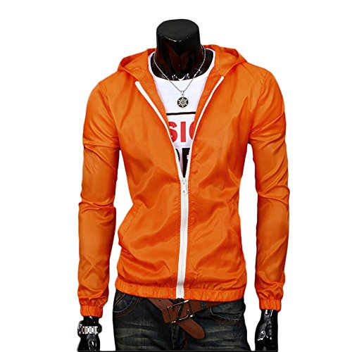 Blazer Hombres Trench Orange Jacket Impermeable Parka Ccoco XL Coat Cortavientos Chaqueta Impermeable 7Od0wq01