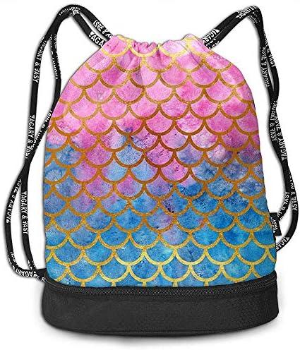 1Zlr2a0IG Mermaid Watercolor Gold Pink Fish Scales Drawstring Backpack Drawstring Bag Bundle Backpack