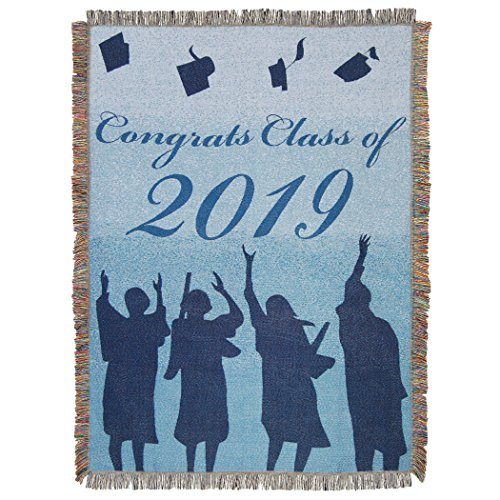 """The Northwest Company Graduation, """"Congrats Class of 2019"""" Woven Tapestry Throw Blanket, 48"""" x 60"""", Multi Color"""