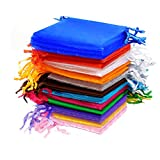 AKORD Wedding Favour Jewellery Pouches, Organza, Multi-Colour, 100-Piec