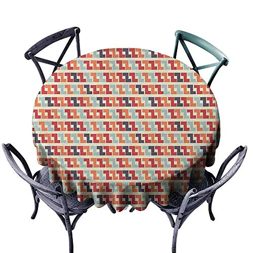 duommhome Colorful Fabric Dust-Proof Table Cover Retro Geometric Shaped Composition with Horizontal Zigzag Simple Maze Like Forms Indoor Outdoor Camping Picnic D55 Multicolor