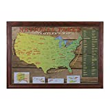 National Park US Push Pin Travel Map with Solid wood Cherry Frame and Pins 24 x 36