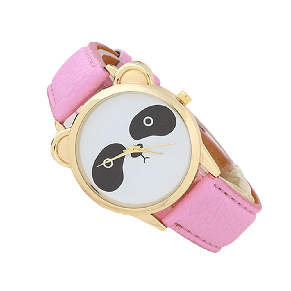 Kids Watch for Boys Girls, Students Fashion Cartoon Panda Dial Faux Leather Analog Quartz Wrist Watch