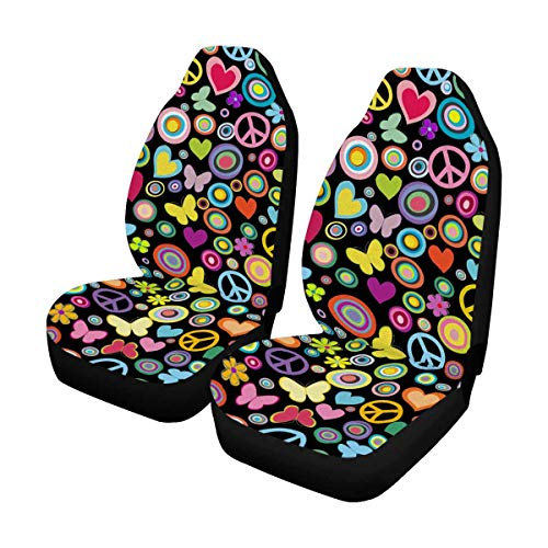 INTERESTPRINT Flowers Hearts Butterflies Peace Signs Auto Seat Covers Full Set of 2, Bucket Seat Protector Car Seat Cushions for Car, SUV, Truck or Van ()