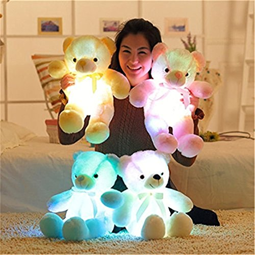 L-King Christmas Pink LED Teddy Bear Doll Glowing Flash Light Up Stuffed Animals Plush Soft Hug Toy Baby Kids Birthday Valentine's Day Gift 18 Inch