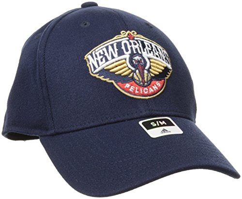 fan products of adidas NBA New Orleans Pelicans Men's Structured Flex Cap, Small/Medium, Navy