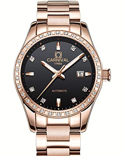 Ladies Automatic Diamond Watch - Carnival Women's Diamond Sapphire Automatic Mechanical Rose Gold Stainless Steel Waterproof Lady's Elegant Black Watch (Full Rose Gold with Black dial)