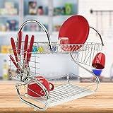 ProBache - Égouttoir vaisselle chrome inox double niveau couverts assiettes