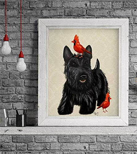 - Cazvas Scottie Dog Red Birds Scottish Terrier, Art Print Picture Painting Dog Graphic Illustration Art Picture Poster Drawing Gift Dog Lover No-Frame