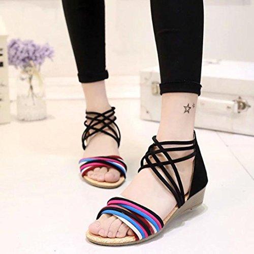 Zapatillas De Mujer Euone Summer Bohemia Chanclas Sandalias Planas Zapatillas De Playa Negras