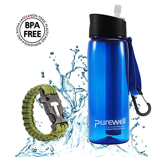 Purewell Water Filter Bottles BPA Free with 4-Stage Integrated Filter Straw for Camping, Hiking, Backpacking and Travel