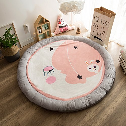 HugeHug Cartoon Soft Fenced Kids Play Mat Floor Area Rugs for Bed and Game Rooms, Reading Nook, Video Games or Watching TV, Thick Non-Toxic Softer Fluffy Round 60 inches for Babies Girls Boys(Rabbit) by HugeHug (Image #1)