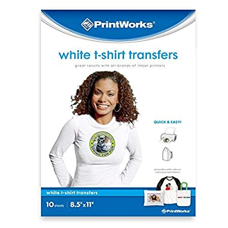 """30 Sheets Photo Quality Prints Printworks Dark T-Shirt Transfers for Inkjet Printers 6-Pack for Use on Dark and Light//White Fabrics 8 /½/"""" x 11/"""" 00529C"""