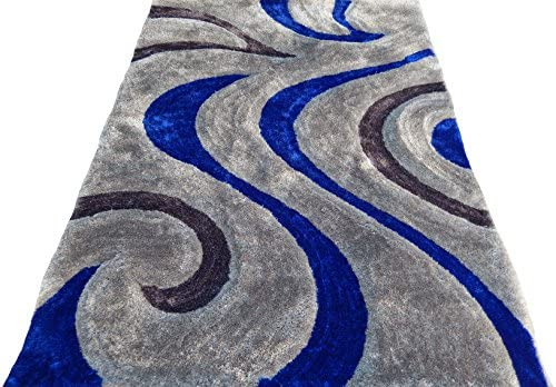 Shag Shaggy Modern Swirl Design Gray Royal Blue 5×7 Area Rug