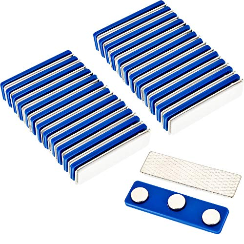 Gejoy 24 Pack Magnetic Name Badge Adhesive Name Tag Holders with Neodymium Magnets and Plastic Storage Box (Blue)