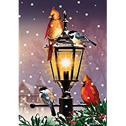 "Briarwood Lane The Gathering Winter Garden Flag Lamp Post Cardinals 12.5"" x 18"""