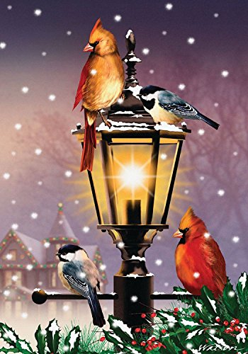 "Briarwood Lane The Gathering Winter Garden Flag Lamp Post Cardinals 12.5"" x 18"""