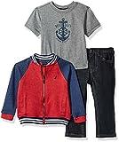 Nautica Boys' Baseball Jacket, Tee, and Denim Pant Set, Red Rouge, 12 Months