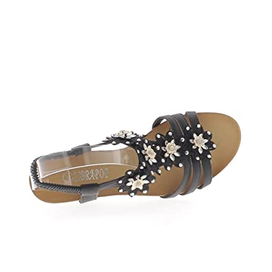 7d5733e21 ChaussMoi Small 5cm Heel and Rhinestone Black Wedge Sandals - 7.5   Amazon.co.uk  Shoes   Bags