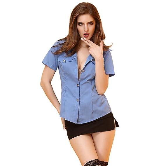 KAIDILA Mujer policía Uniforme Cosplay rol Juego Azafata Uniforme ...