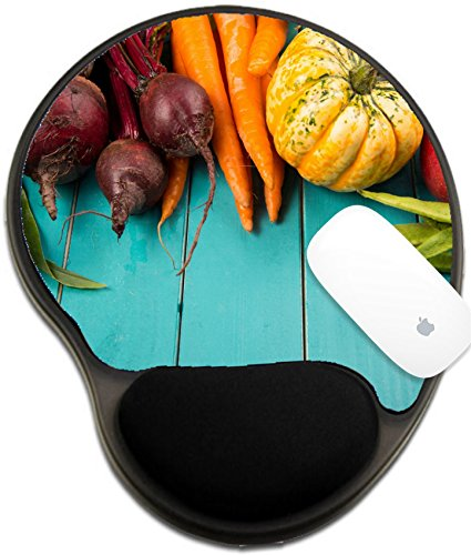 Luxlady Mousepad wrist protected Mouse Pads/Mat with wrist support design IMAGE ID 31473240 Farm fresh organic vegetables on rustic wooden blue table background