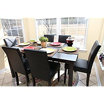 7 Pc Espresso Leather Brown 6 Person Table And Chairs Dining Dinette