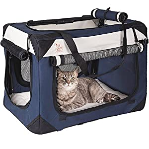"PetLuv ""Happy Cat Premium Cat Carrier Soft Sided Foldable Top & Side Loading Pet Crate & Carrier Locking Zippers Shoulder Straps Seat Belt Lock Plush Pillow Reduces Anxiety 7"