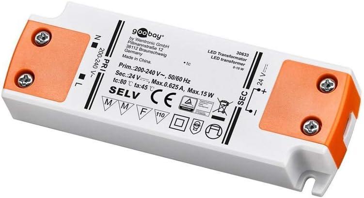 Goobay Transformador LED 24V (DC) de 0,5 hasta 15 vatios para lámparas LED, 1 pieza