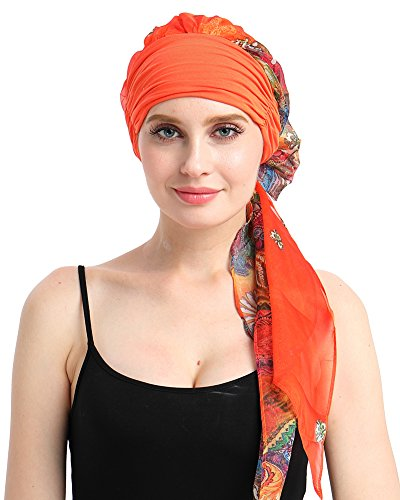 Winter Warm Headwrap Turban for Cancer Patients Lightweight Chemo Hat Beanies Yellow Floral (Best Hats For Cancer Patients)