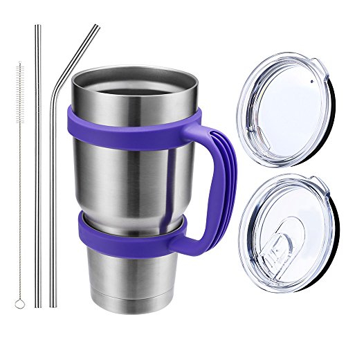 Comfy Mee Vacuum Insulated Stainless Steel 30OZ Tumbler Set of 7 Items(Tumbler with Grape Purple Handle)