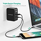 USB Type C Wall Charger RAVPower 30W 3-Port Charging Station with 5V 3A Output for Macbook, Galaxy S8,Note 8,HTC 10, LG G6 G5 V20,Moto Z2,Google Pixel, 2 iSmart 2.0 USB Ports Travel Adapter for iPhone