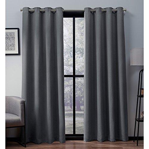 """Heath Textured Linen Woven Room Darkening Grommet Top Window Curtain Panel Pair Black Pearl (52 X 96"""") - Exclusive Home"""