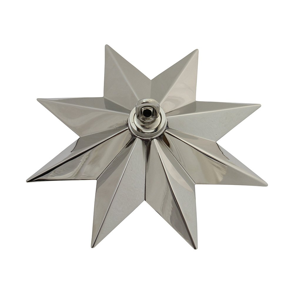 RCH Hardware CN-11-PN CN-11-S-H-PN Solid Brass Decorative Star Shaped Ceiling Canopy Medallion Accent for Chandeliers and Pendant Lighting with Matching Screw Collar and Loop Polished Nickel by RCH Hardware (Image #1)