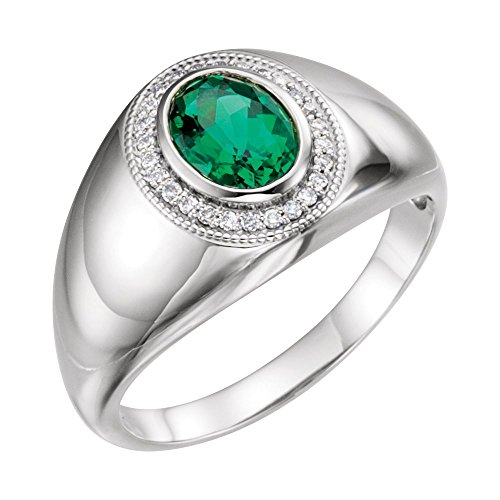 Bonyak Jewelry Lab-Created Emerald Platinum Men's Chatham Created Emerald & Diamond Accented Ring - Size 11 ()