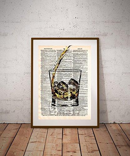 (Whiskey art, bourbon art print, bar decor kitchen art, man cave)