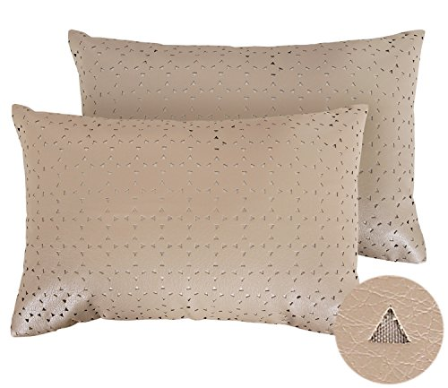 Deconovo Decorative Triangle Perforated Pattern Luxury Solid Faux Leather Pillows Cushion Cover for Patio 18X12 Inch ()