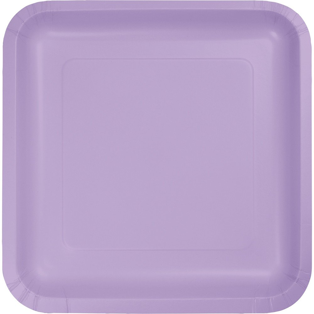 Creative Converting Touch of Color 18 Count Square Paper Dinner Plates, Luscious Lavender