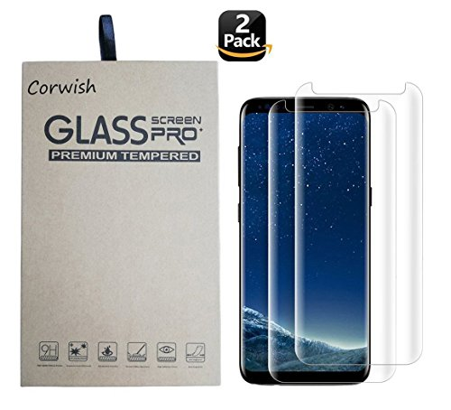 2 Pack Galaxy S8 Tempered Glass Screen Protector, 3D Curved Edge To Edge Case Friendly Full Coverage HD Clear Protective Cover for Samsung S 8 Smart Phone ( for S8, not for S8+ ) (S8-Clear-2)