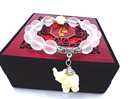(Wening Natural Frosted Matte Crysta Bracelet Cute Elephant Quartz Crystal Wrap Opal Elephant Bracelet (Silver))