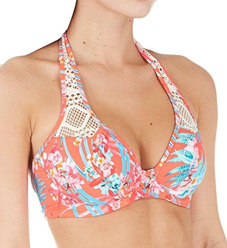 Freya Womens Wild Sun Crochet Underwire Banded Halter Bikini Top, 36G, Tropical ()