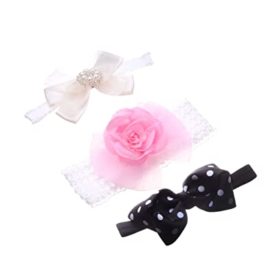 MISM Baby Headbands Infant Girls Bows Photo Prop Hair Bands for Halloween Christmas 3-PCS Newborn Flower Headband Set